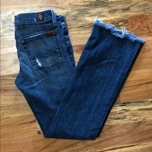 7 for all mankind jeans. Size 28. Raw hem.